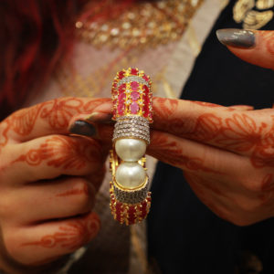 Diamond-Studded-Semi-Precious-Bangle-With-Red-Stones