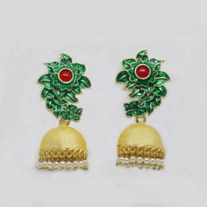 Green-Meenakari-Matte-Gold-Jhumka