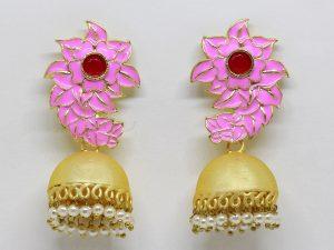 Pink-Meenakari-Matte-Gold-Jhumka
