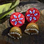 Handpainted-Red-Jhumki-With-Beads-Jaipuri-Earrings