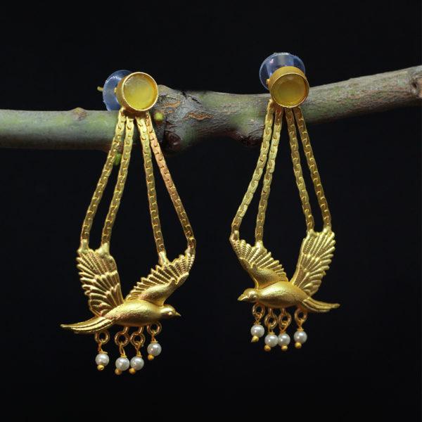 Yellow-Parrot-Semi-Precious-Stone-Studded-Long-Earrings