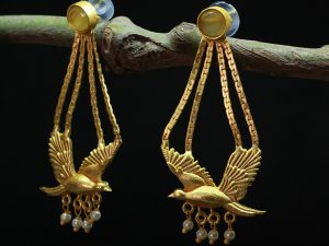 Yellow-Parrot-Semi-Precious-Stone-Studded-Long-Earrings