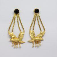 Black-Parrot-Semi-Precious-Stone-Studded-Long-Earrings