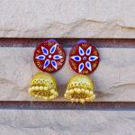 Handpainted-Maroon-Jhumki-With-Beads-Jaipuri-Earrings