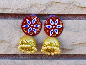 Handpainted-Maroon-Jhumki-With-Beads-Jaipuri-Earrings