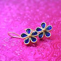 Navy-blue-jaipuri-hoop-studs-stone-studded