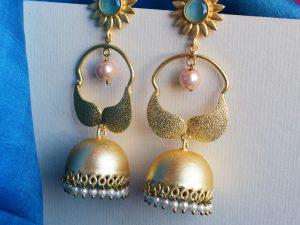 Sky-Blue-Partywear-Matte-Finish-Golden-Earrings