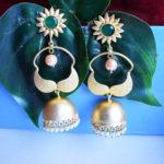 Green-Partywear-Matte-Finish-Golden-Earrings