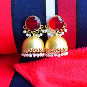 Designer-Stone-Red-Jaipuri-Jhumka-With-Beads